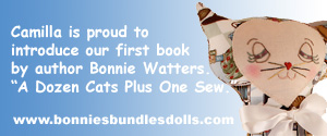 "Camilla is proud to introduce our first book by author Bonnie Watters. ""A Dozen Cats Plus One Sew."""