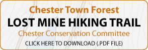Chester Town Forest | Lost Mine Hiking Trail | Chester Conservation Committee | Click Here To Download (.pdf file)